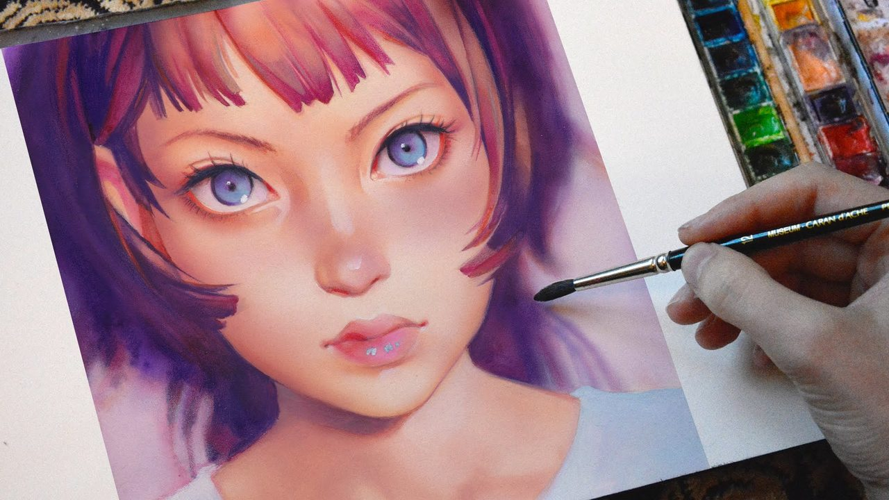 Digital Art in Watercolor - Gyoushi by Ilya Kuvshinov