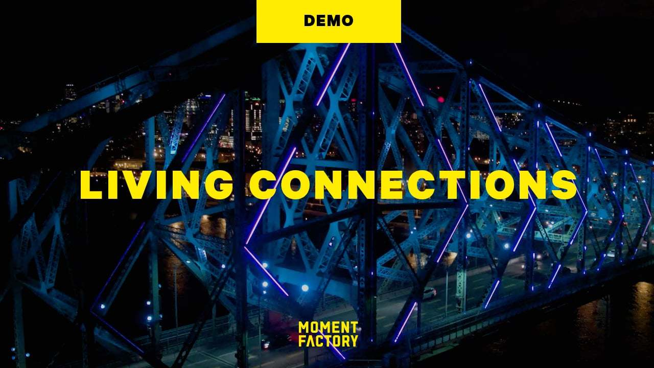 Living Connections: Drone View of Montréal's Jacques Cartier Bridge Illumination