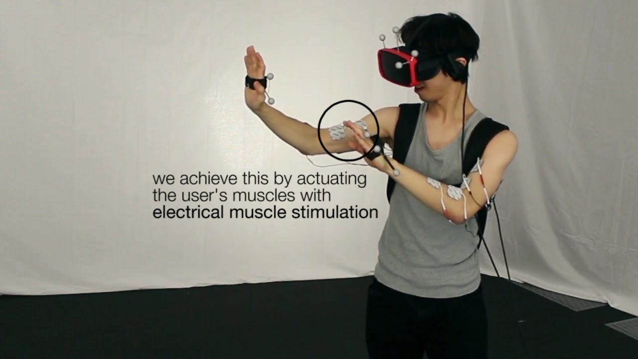 haptics for walls & heavy objects in virtual reality using electrical muscle stimulation