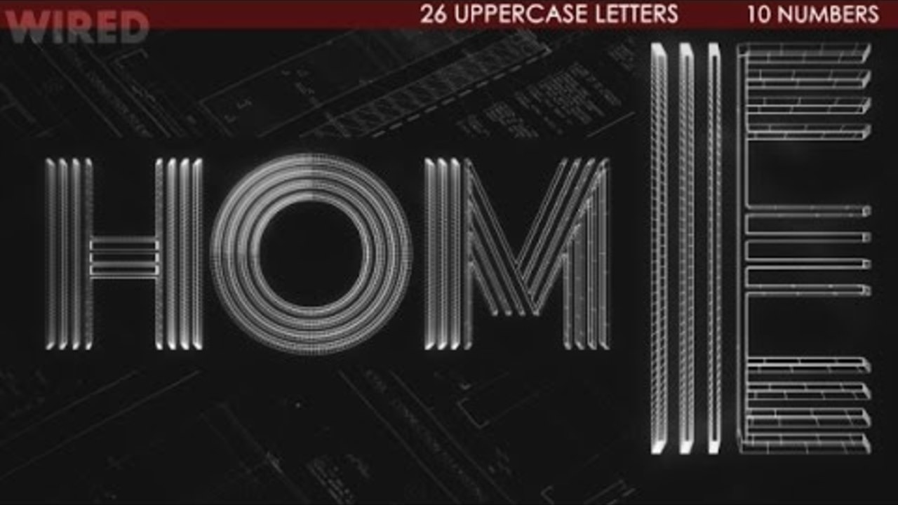 3D Wired Architectural Font | After Effects template