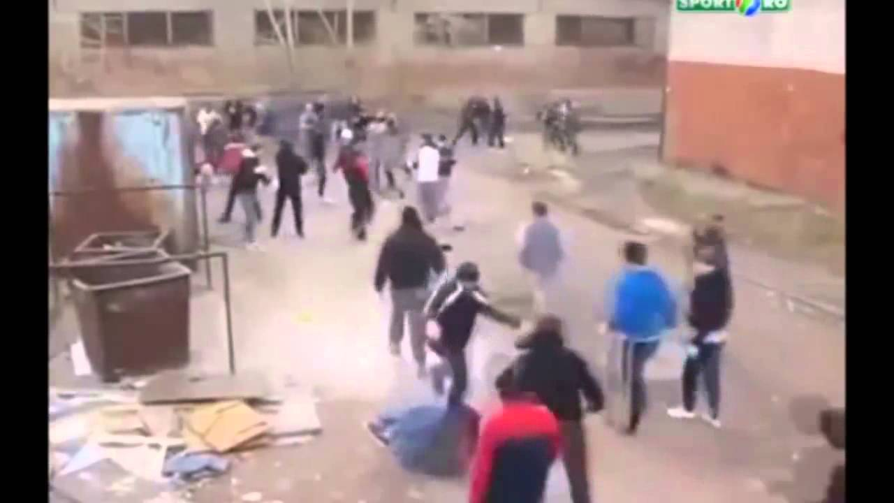 Russian students start a gang fight on school property.