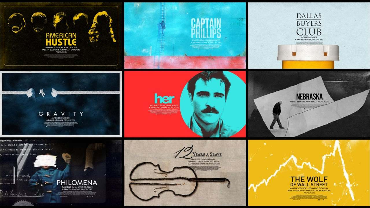 Oscars Best Picture Nomination Title cards - 2014 (poster look)